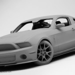 Ford Mustang GT500 Clay 3D Render