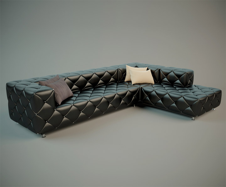 Stylish Leather Sofa 3D Model Free